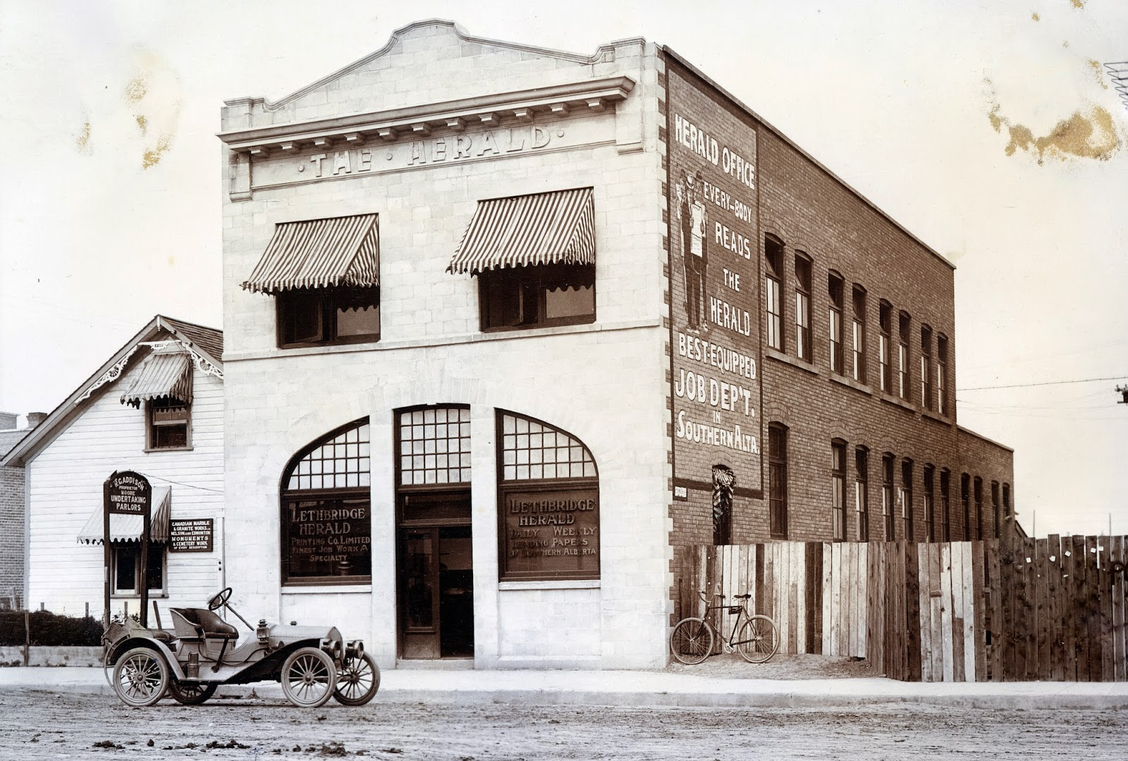 The Lethbridge Daily Herald Offices at 323 - 6 Street S, August 1914. In the days before television, radio and the internet, newspapers were the primary resource of public information.  Courtesy the Galt Museum & Archives: 19891049200