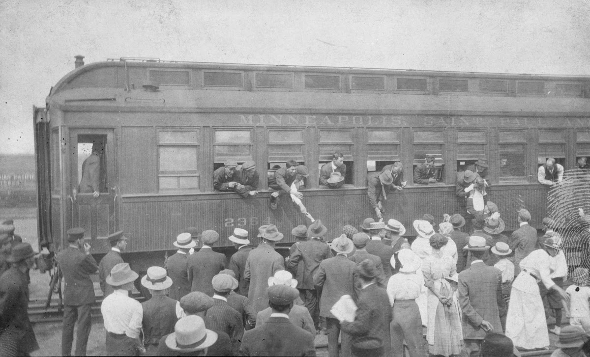 On August 27, 1914 a second group of 100 eager volunteers boarded the train for the trip to Valcartier, Quebec. A large number of these men would serve together in Calgary's 10th Battalion, which was part of the first division and fought in the early battles in France and Flanders.  Courtesy the Galt Museum & Archives: 20131017002