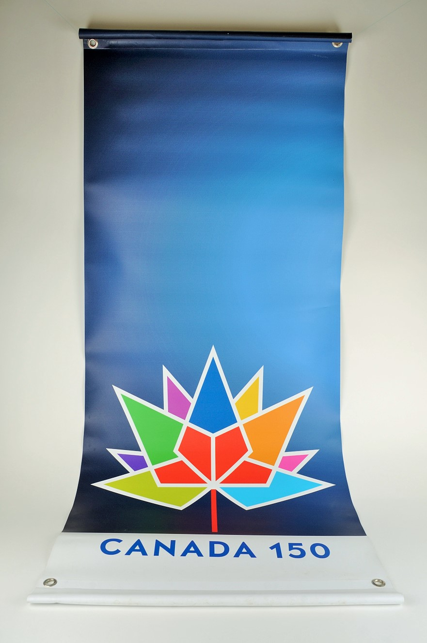 A Canada 150 banner that was on display for the sesquicentennial celebrations in Lethbridge, now in the collections of the Galt Museum & Archives.