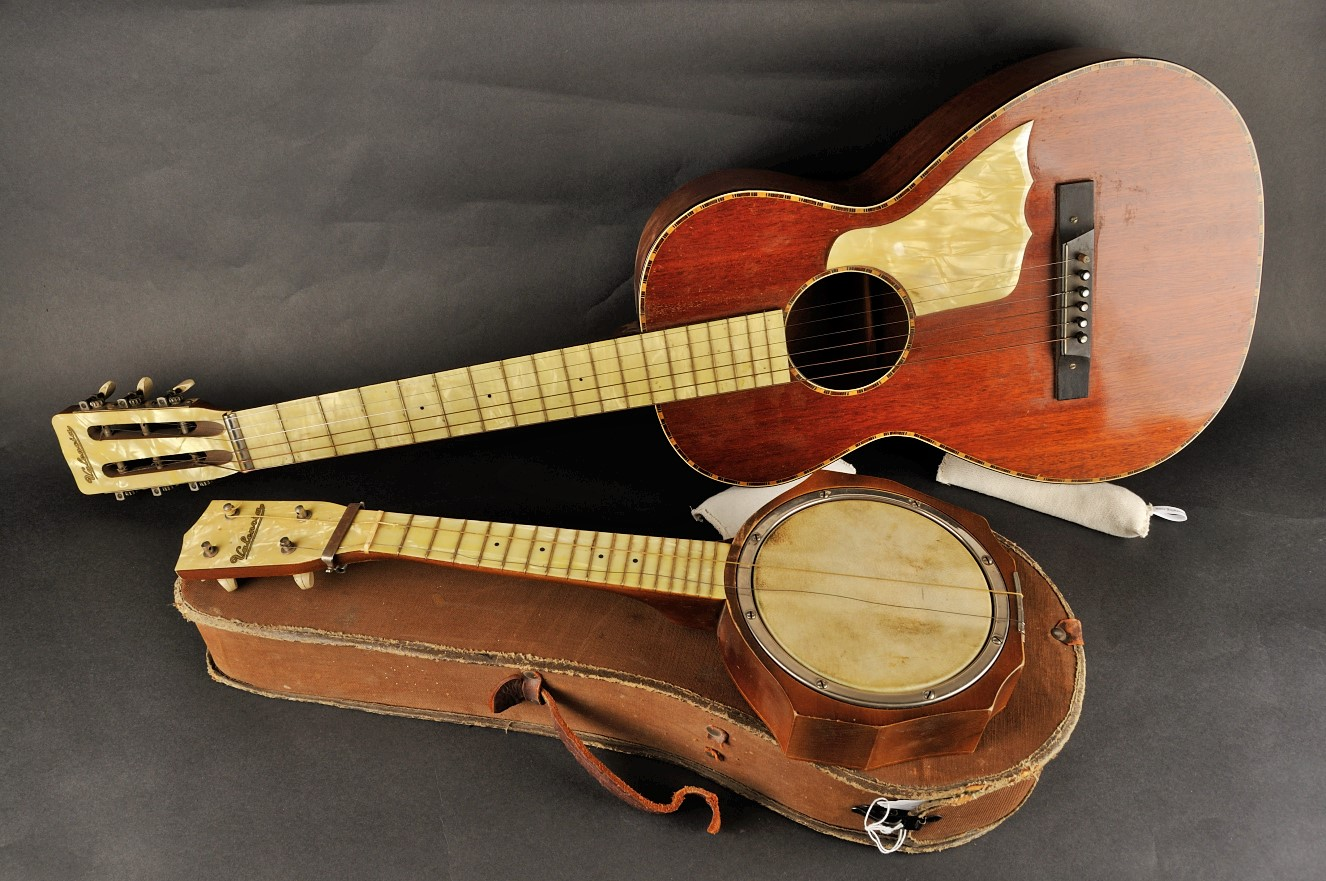 A matched set of a guitar and a ukulele donated to the Galt Museum & Archives.