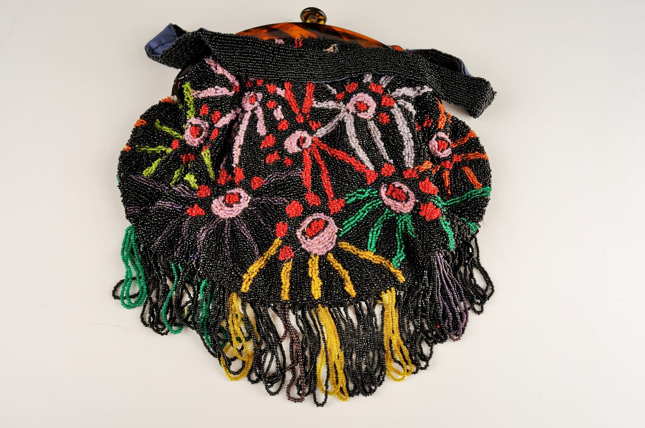 A beaded handbag that was donated to the Galt Museum & Archives.