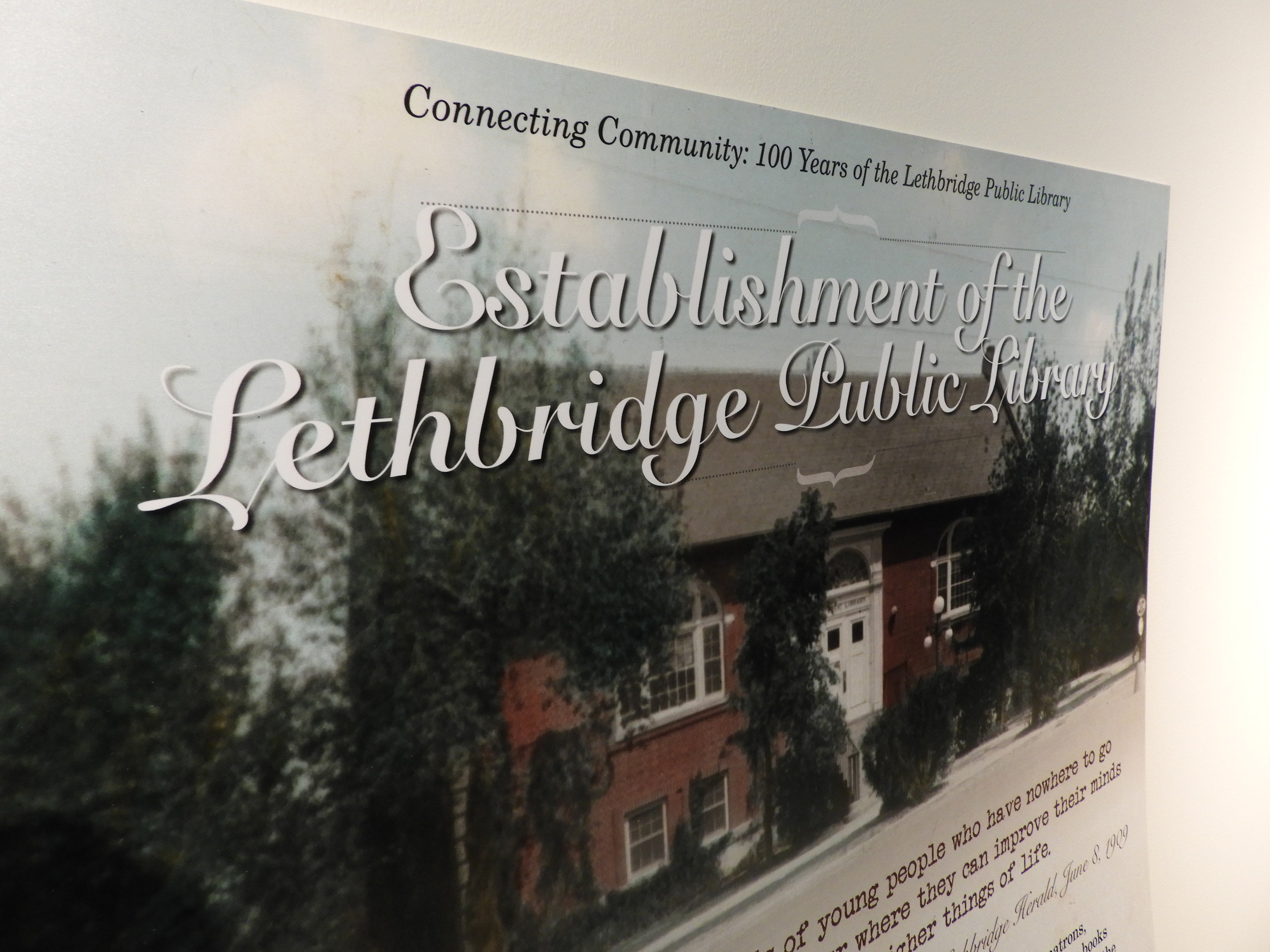 A photo of an exhibit panel in the  Connecting Community: 100 Years of the Lethbridge Public Library  exhibit