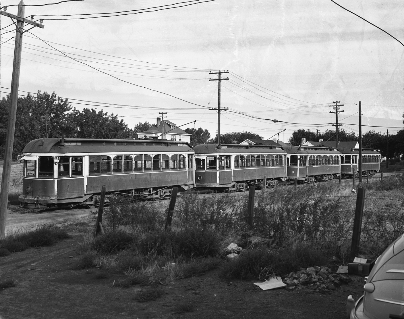 View of the Lethbridge streetcars in a storage yard after the closure of the street railway system on 8 September 1947.