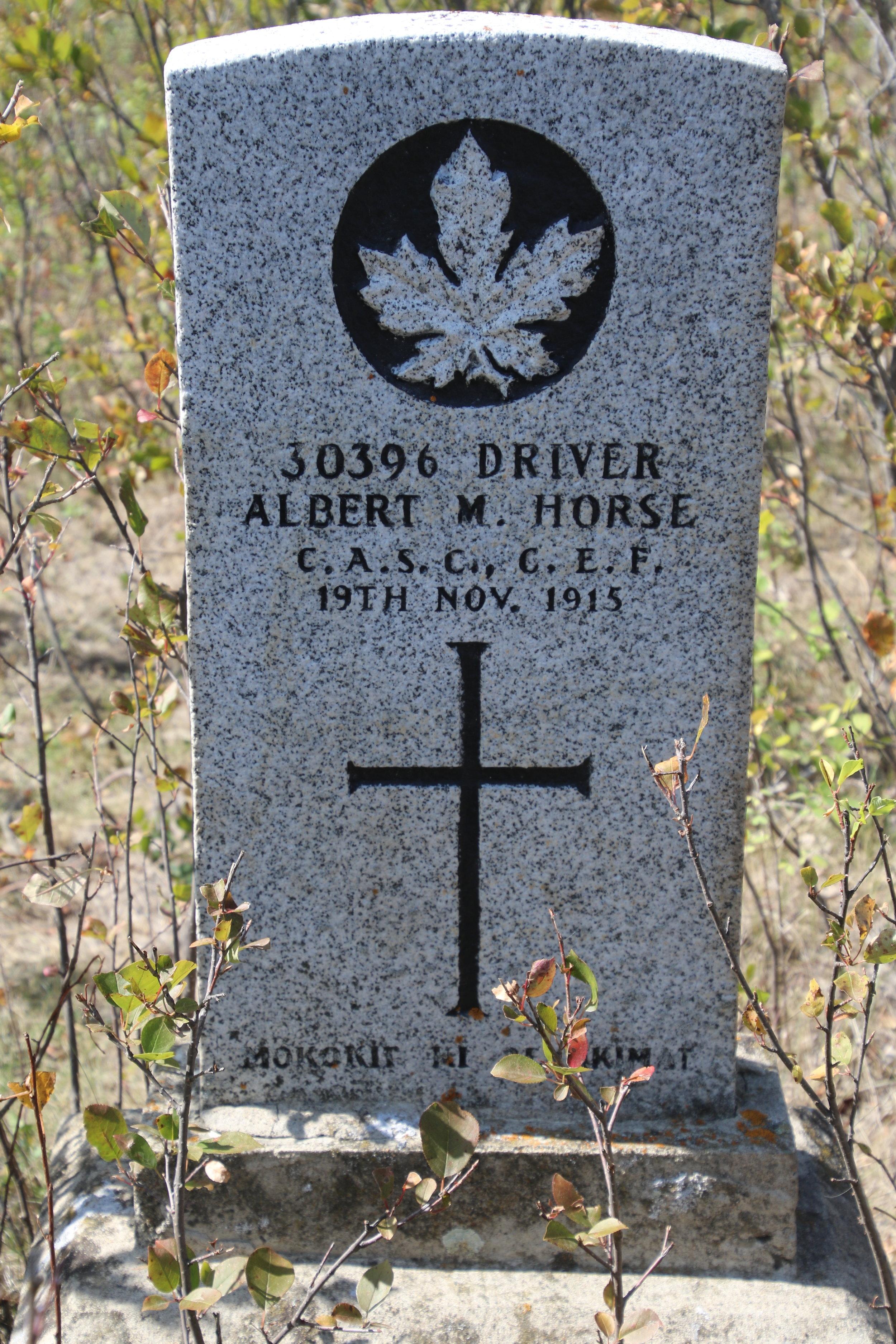 The gravestone for Albert Mountain Horse. Photo from Glenn Miller.