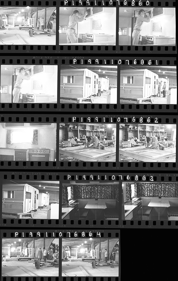 Film strips from the Galt Museum & Archives that show the Lethbridge Holiday Trailers Ltd. manufacturing plant in operation.   Photo courtesy the Galt Museum & Archives, 19911076860-864.