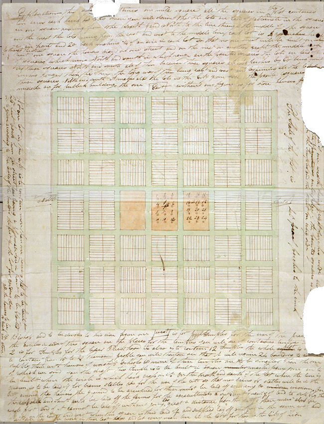 A picture of the document created in 1833 by Joseph Smith called the Plat of Zion.
