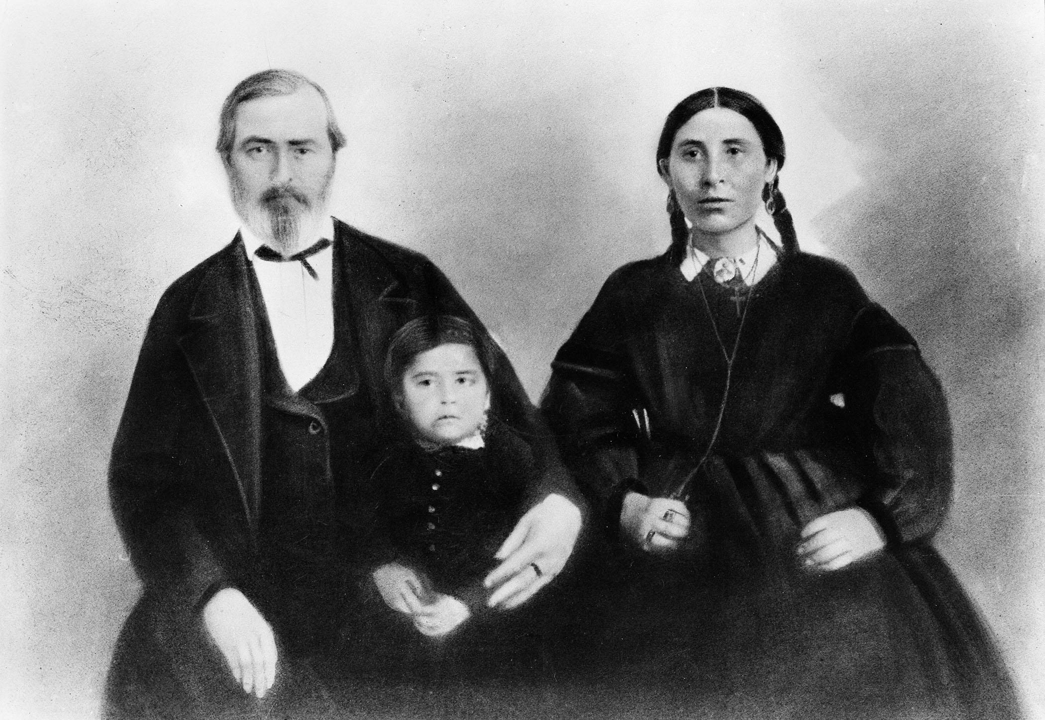 Natawista with Alexander Culbertson and son Joe, taken circa 1863.  Photo courtesy of the  Montana Historical Society Research Center Photograph Archives :  941-818.
