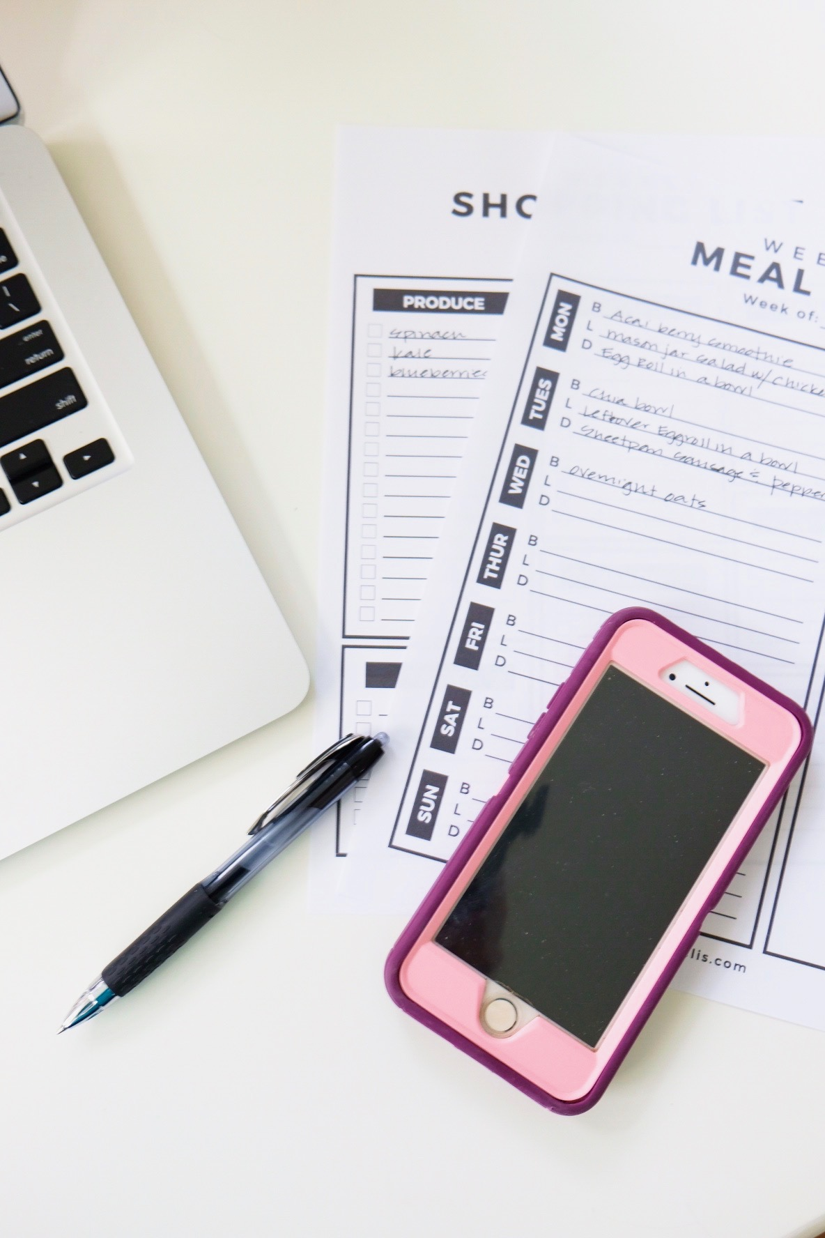 Meal Planning and Shopping List Template