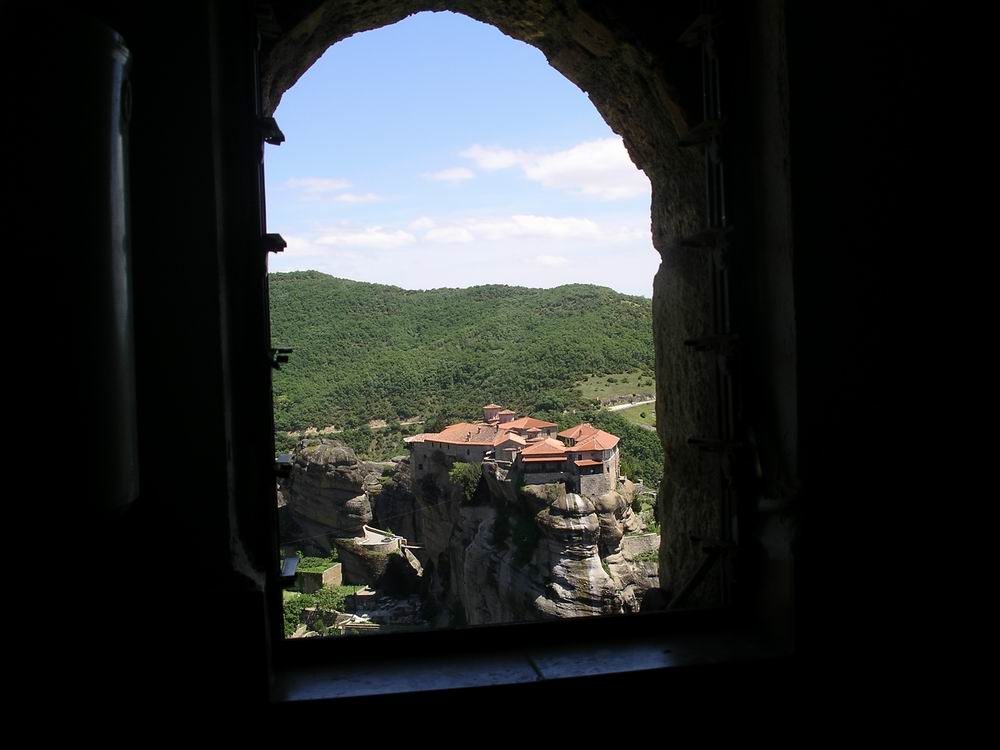 Through the monastery window in Metreo.JPG