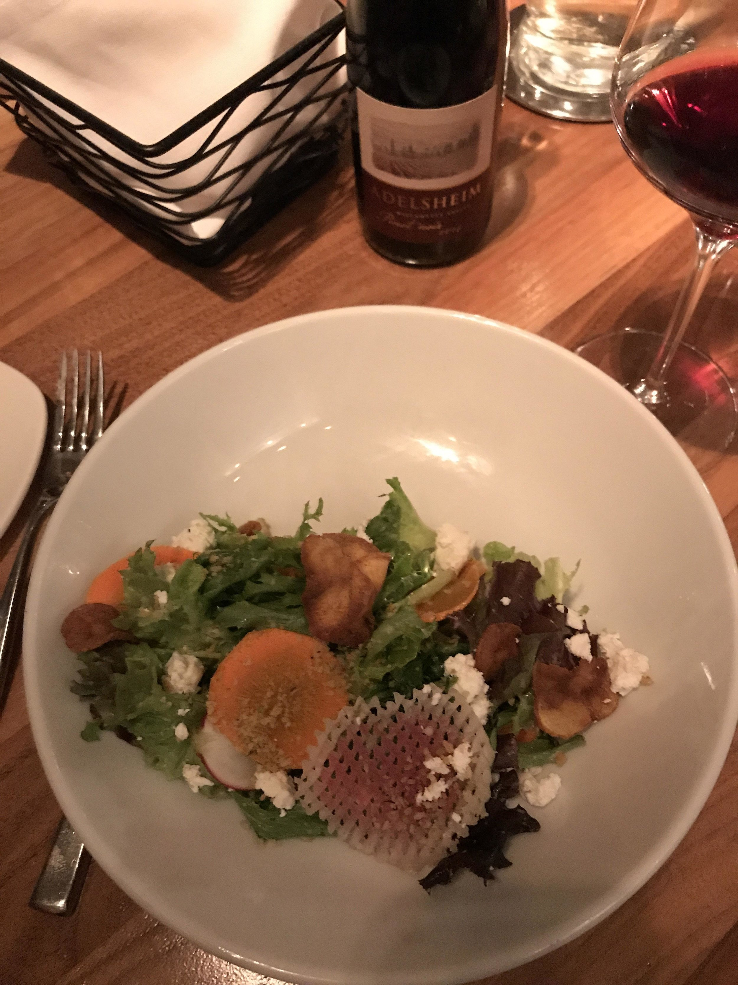 local greens with an oregon pinot noir at sea glass restaurant