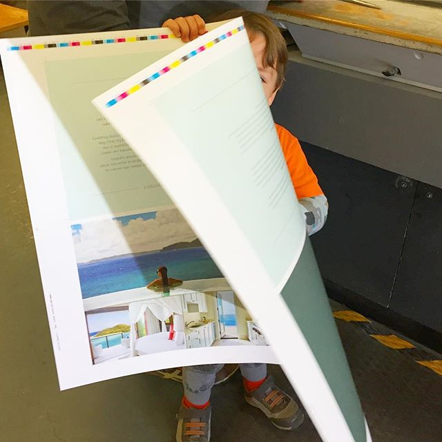 The littlest Tenderling on press today! We train them early! . . . . . . . . #tenderling #tenderlingdesign #presscheck #press #kidswithjobs #isaacandivory #offset #colormatch #mccoypaper #printing #caribbean #design #austin #brochuredesign #luxurydesign #luxe #oilnutbay #brochuredesign #marketing #printing #austindesign #atxdesign #atxagency #designers #typography #designinspiration #fourcolors