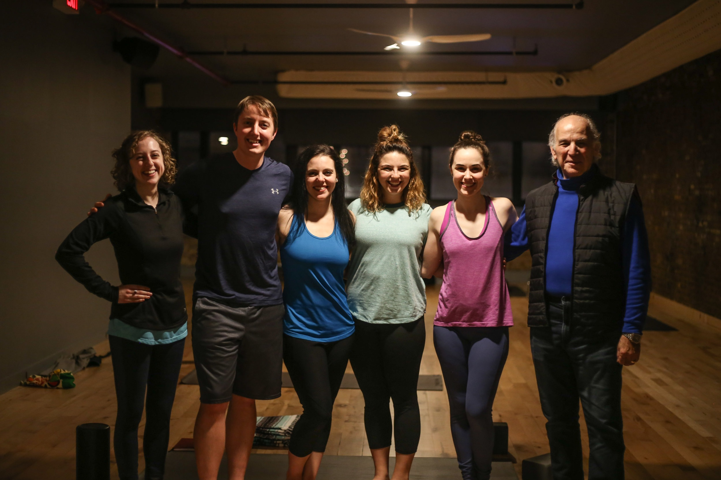 Megan with cast and crew of   Um..Om.   From left to right: playwright Meghan Crosby, actors Daniel Kirby, Jess Rawls, Lily Zahn, Megan Greener, & director Joseph Capone (Photo by Marc Franklin)