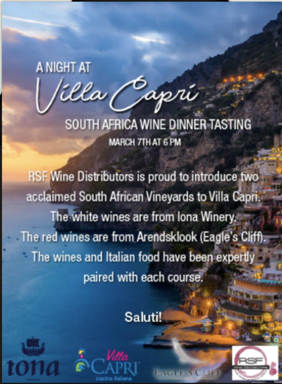 Special Events — Villa Capri Ristorante