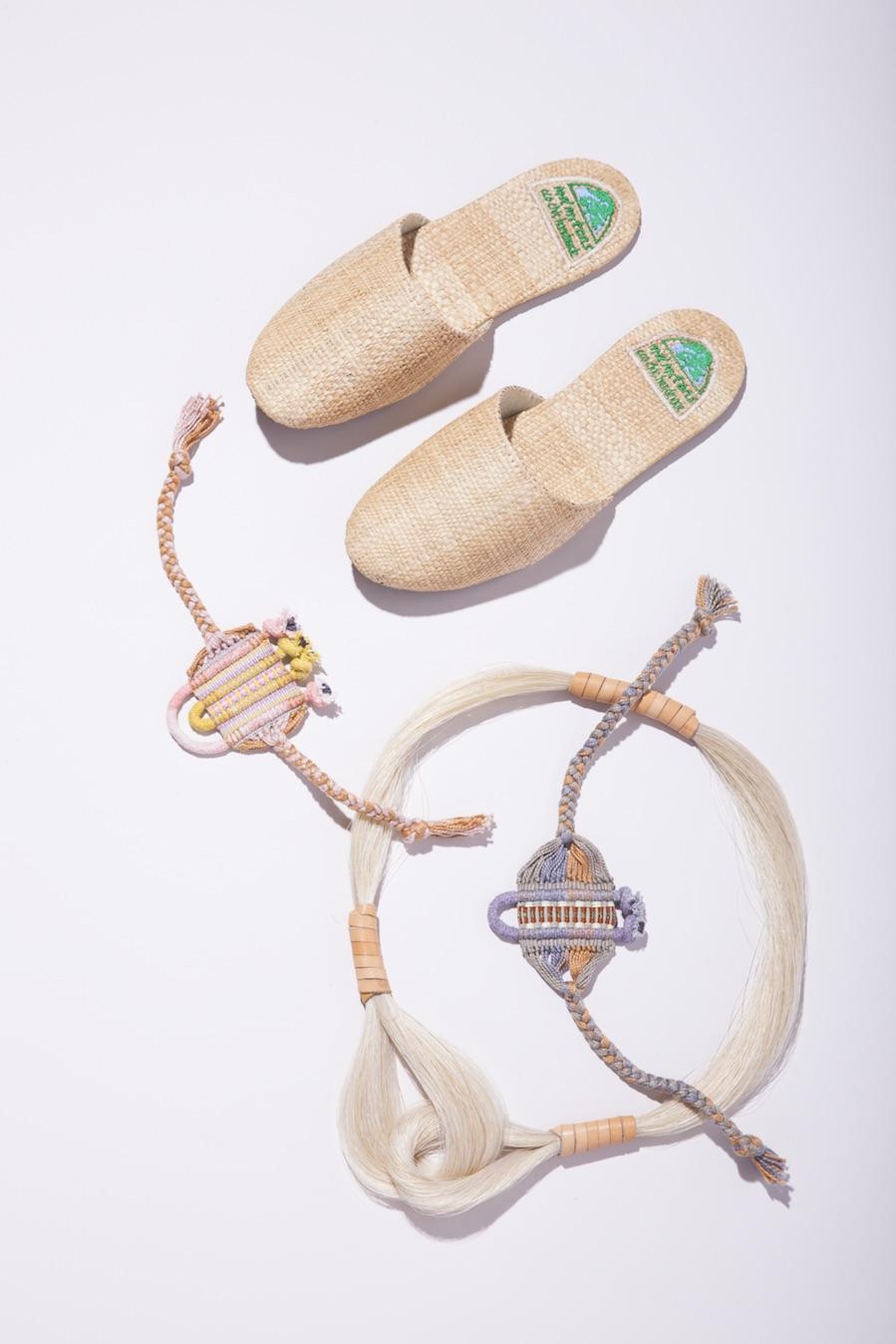 Proud Mary  slides;  Lesh  Evi bracelet;  Golden Pony Workshop  Double Loop Necklace.