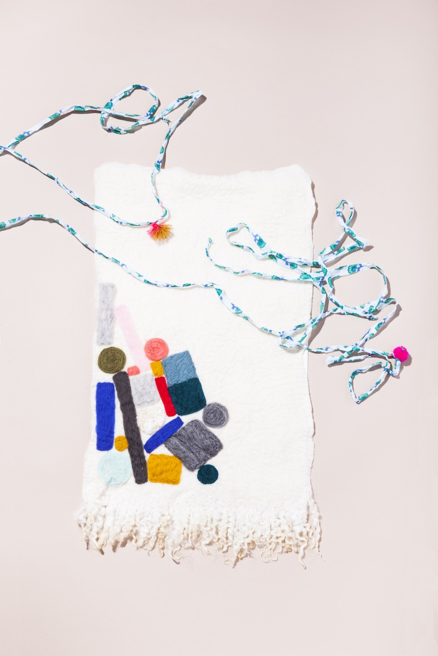 """Able Ground  Kuza Wall Hanging;  Knit Collage  """"Wildflower Drifter"""" Yarn."""