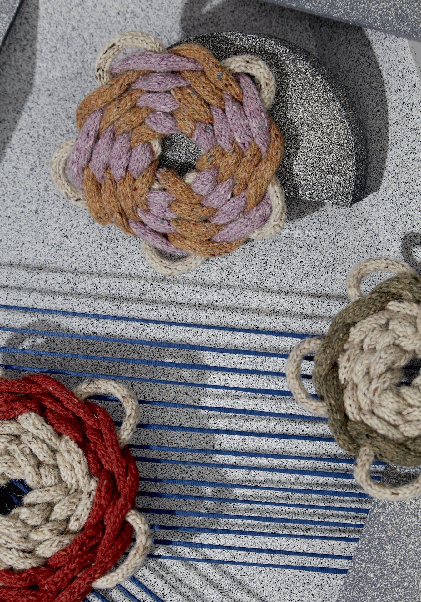 Irish-born, London-living textile artist  Claire-anne O'Brien  has a thing for knots. Just glancing at her Instagram feed, you'll see her find them or put them everywhere: A little bit of fencing might as well be a hand-braided basket; a basic ottoman is just as suitable a place for a chunky knit as anywhere else. And while most of the Central Saint Martins alum's pieces are pretty bold for most homes, these handy little trivets are great for anyone or any space looking for a little texture. Knot bad at all.