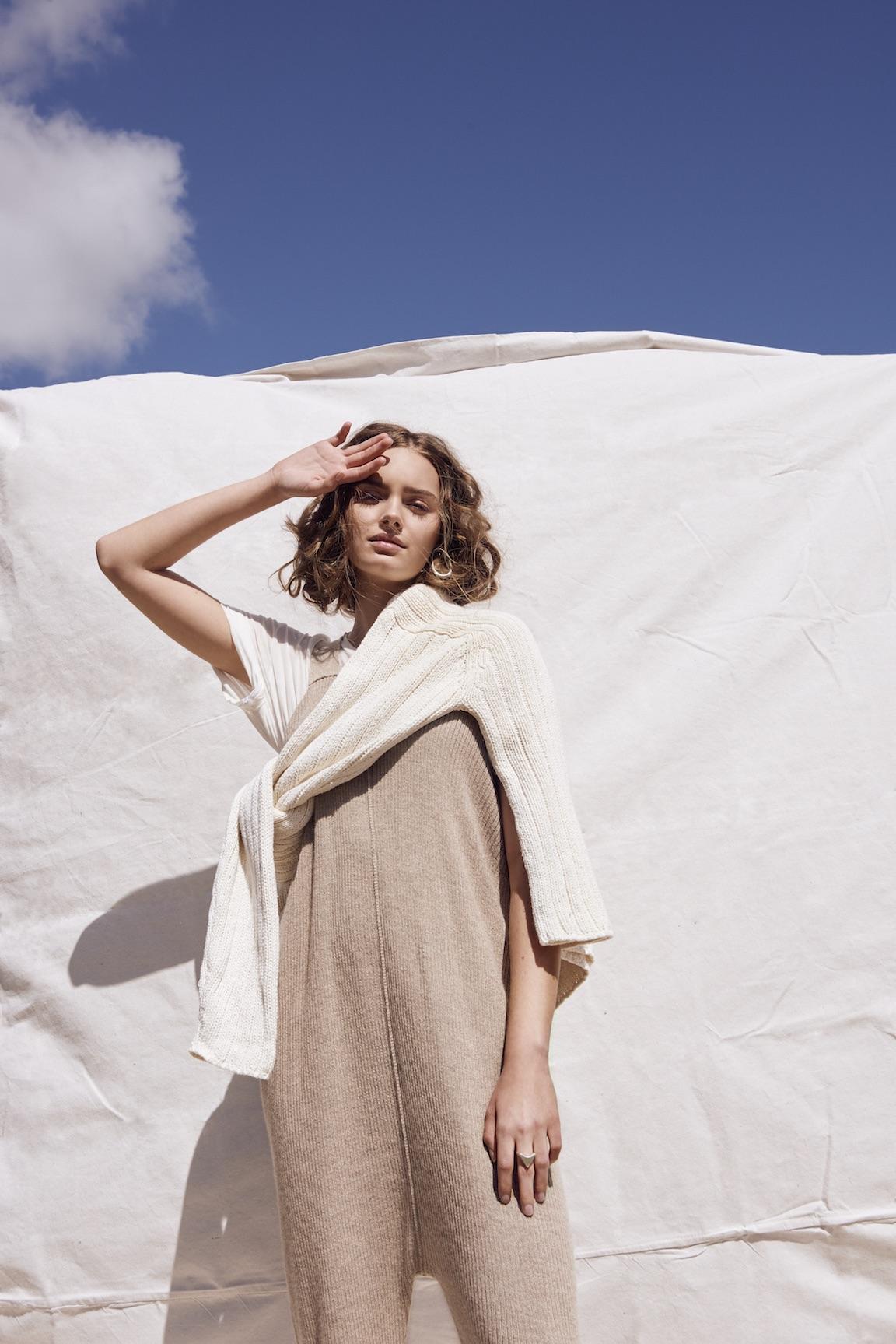 Lauren Manoogian jumpsuit, James Rowland sweater, MNZ tee.