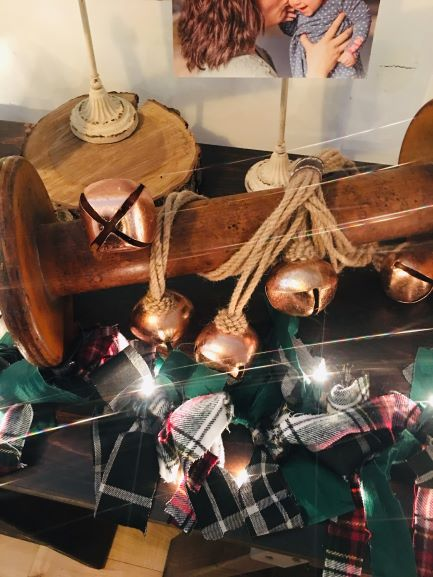 I love this old spool and jingle bells!