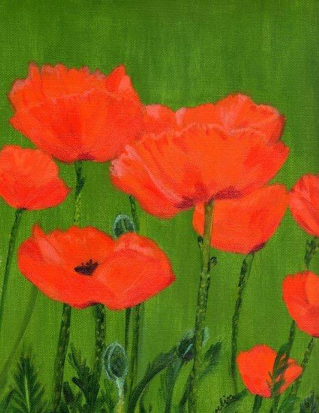 """Poppies"",  16"" x 20"" acrylic on canvas"