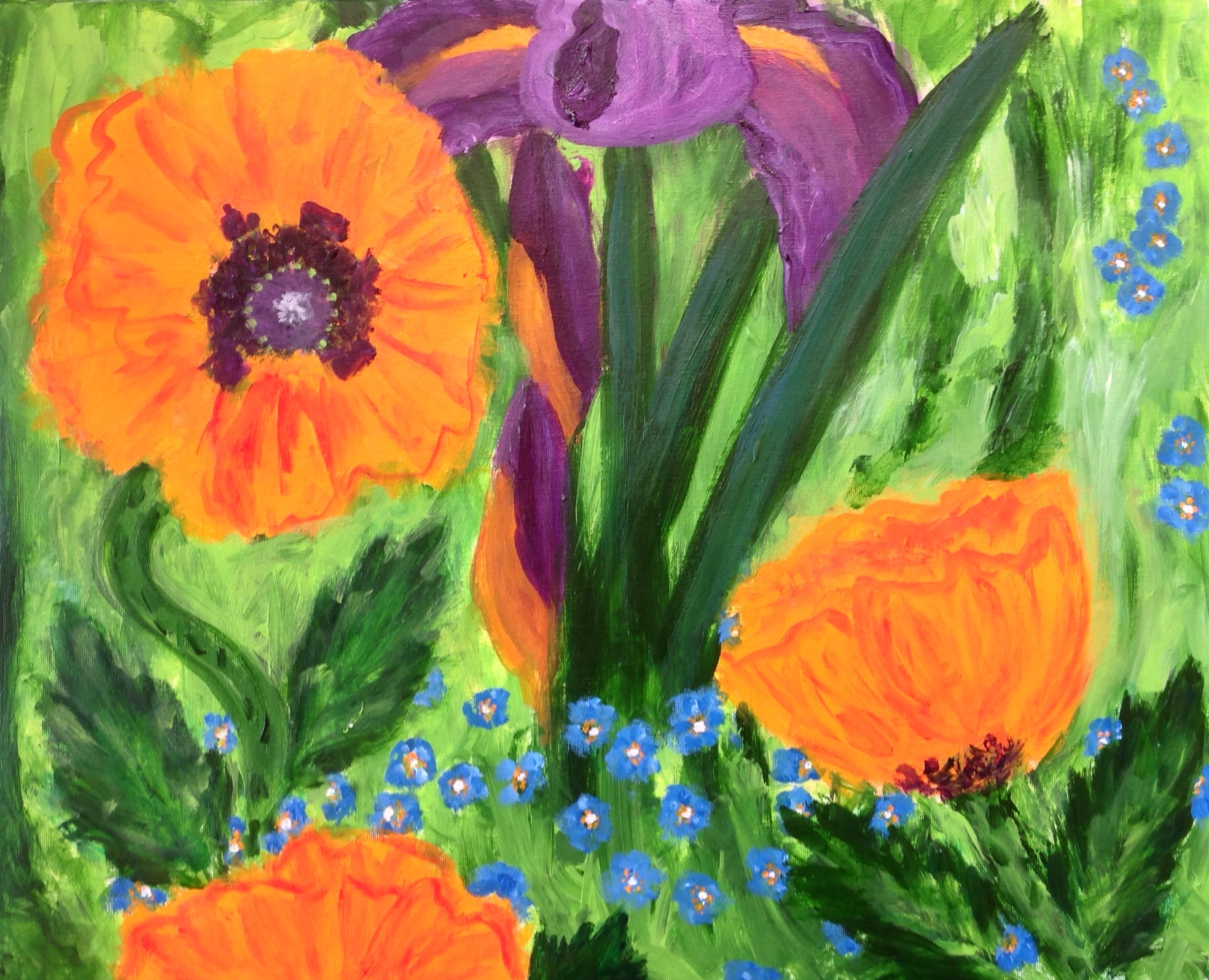 """""""Spring blooms"""" 20"""" x 16"""" acrylic on canvas"""
