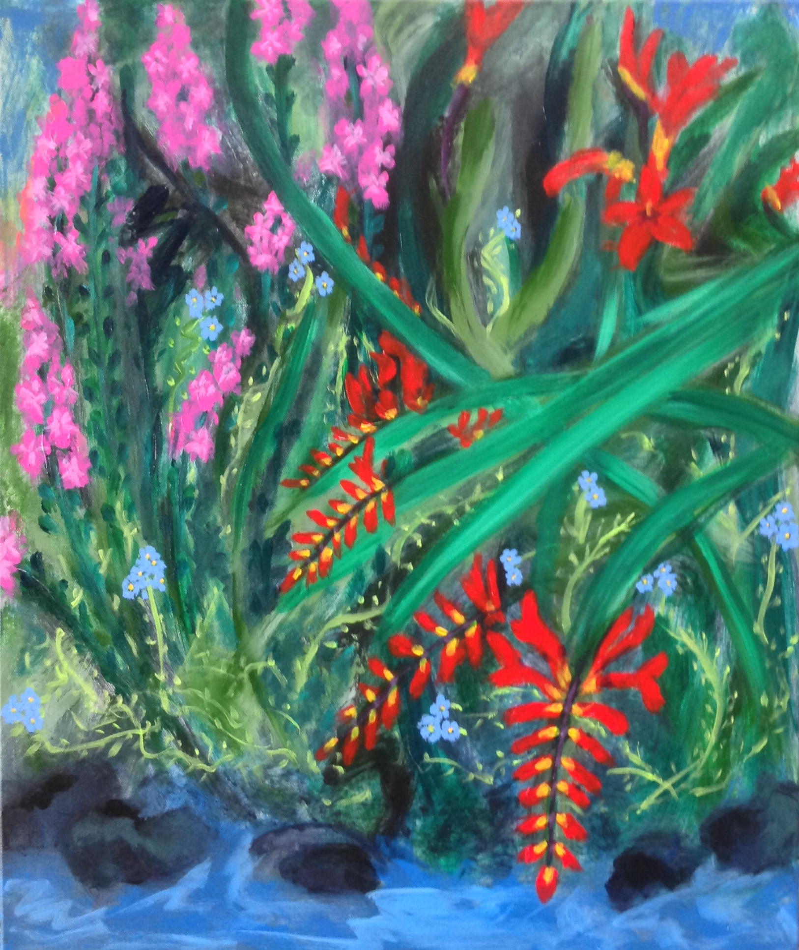"""""""Lakefront flowers"""" 20"""" x 24"""" acrylic on stretched canvas"""