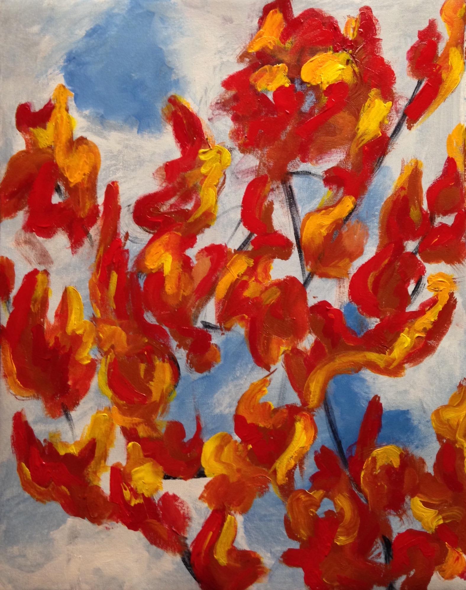 """""""Autumn leaves"""" 16"""" x 20"""" acrylic on canvas"""