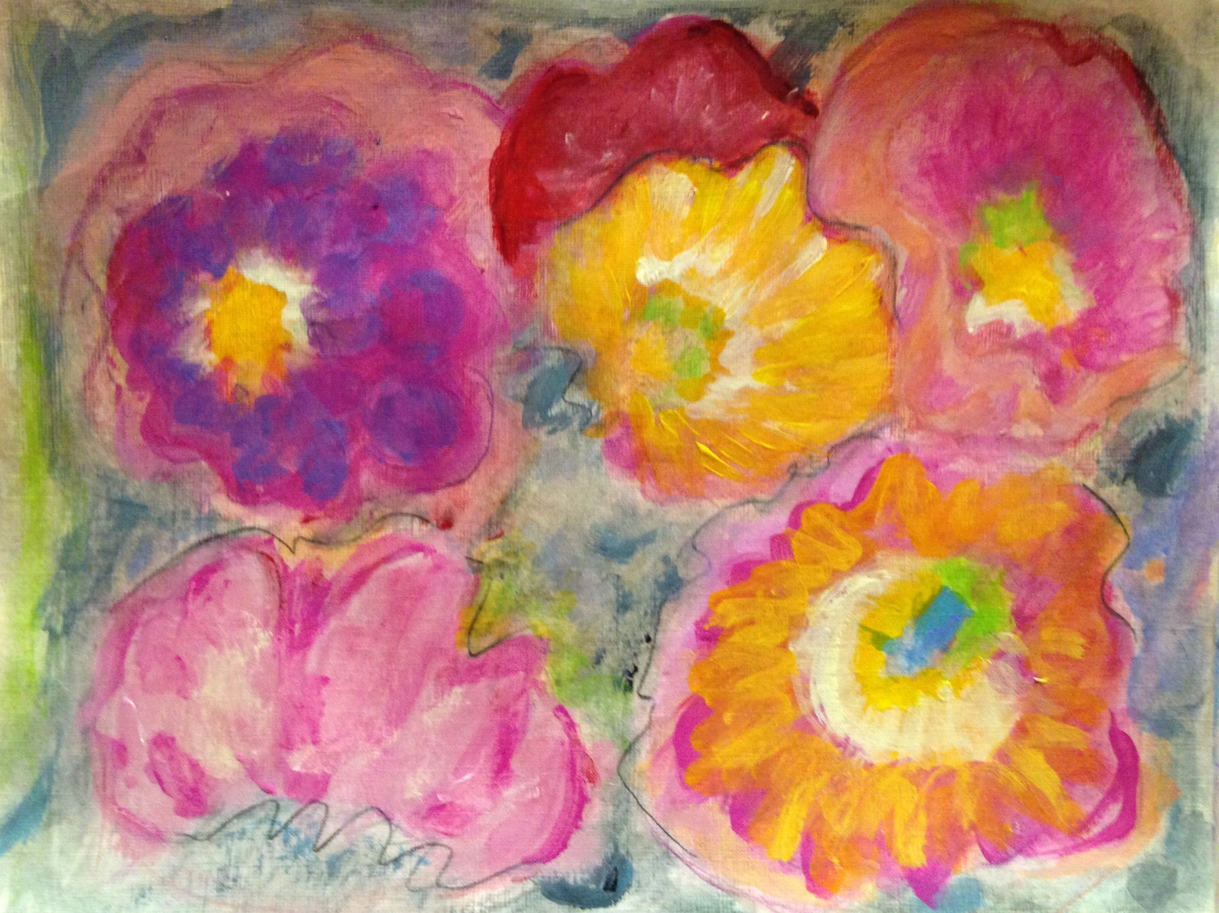 """""""Spring bouquet"""" 12"""" x 9"""" acrylic and water color on linen paper"""