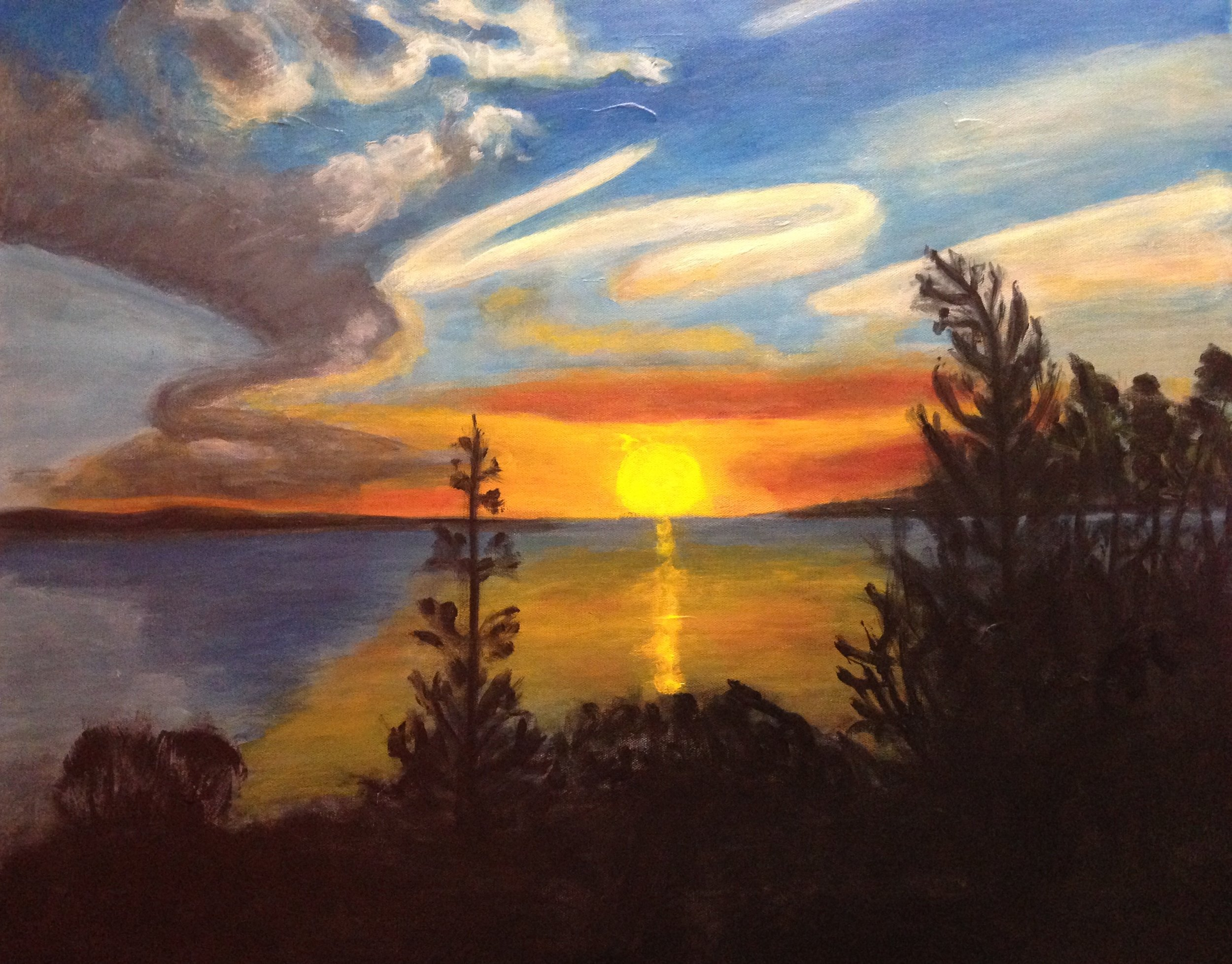 """""""End of day Tobermory"""" 30"""" x 24"""" acrylic on stretched canvas"""