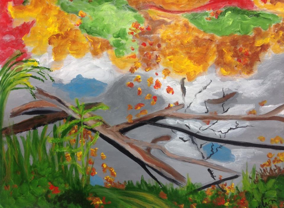 """""""Fall reflections"""" 20"""" x 16"""" acrylic on canvas"""