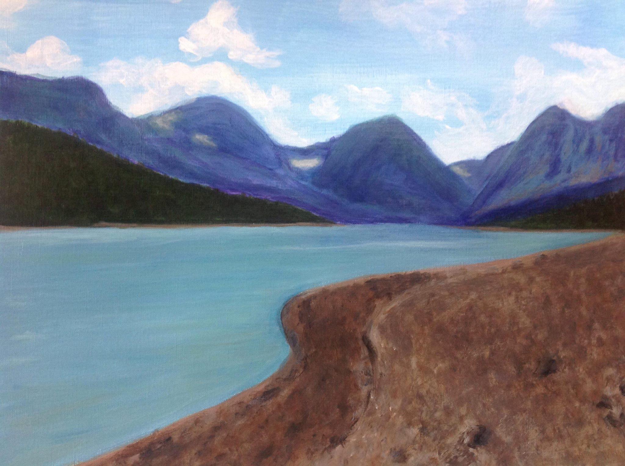 """Glacier National Park"" 12"" x 9"" acrylic on canvas paper"