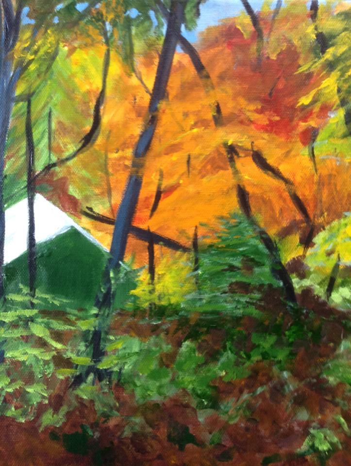 """""""Fall camp 2"""", 9"""" x 12"""" acrylic on stretched canvas"""