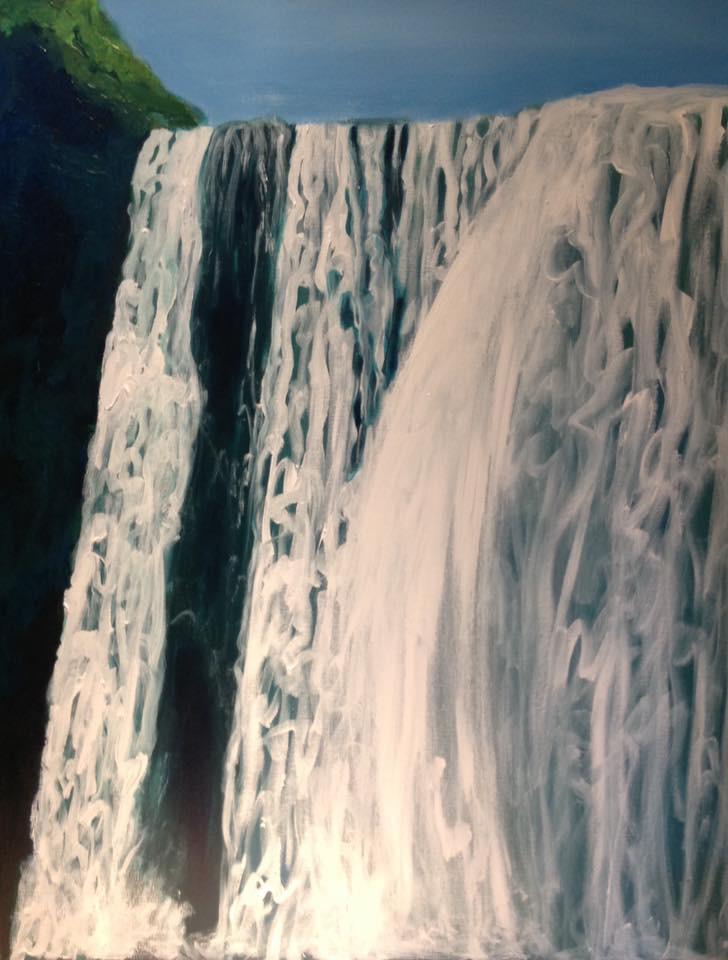 """Skogafoss"", 22"" x 28"" acrylic on stretched canvas"