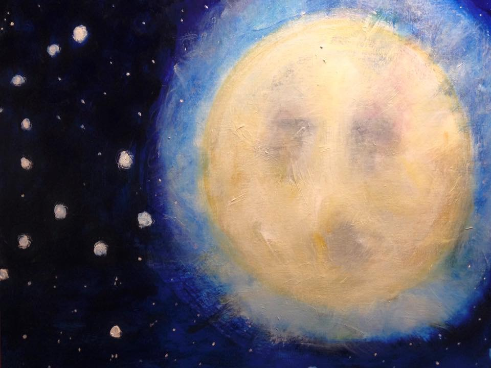 """""""Moon song"""",  30"""" x 24"""" acrylic on stretched canvas"""