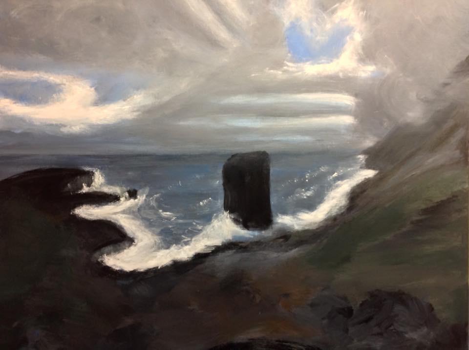 """Windswept Iceland"",  30"" x 24"" acrylic on stretched canvas"