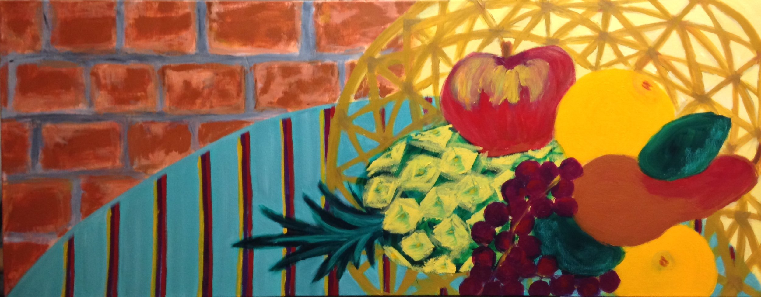 """""""Basket of fruit"""" 40"""" x 16"""" acrylic on stretched canvas"""