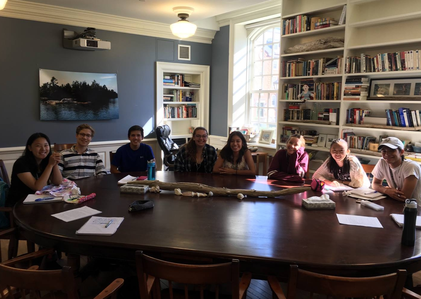 Students around a Harkness Table in a section of  Understanding Arguments  at Phillips Exeter Academy (Summer of 2016)