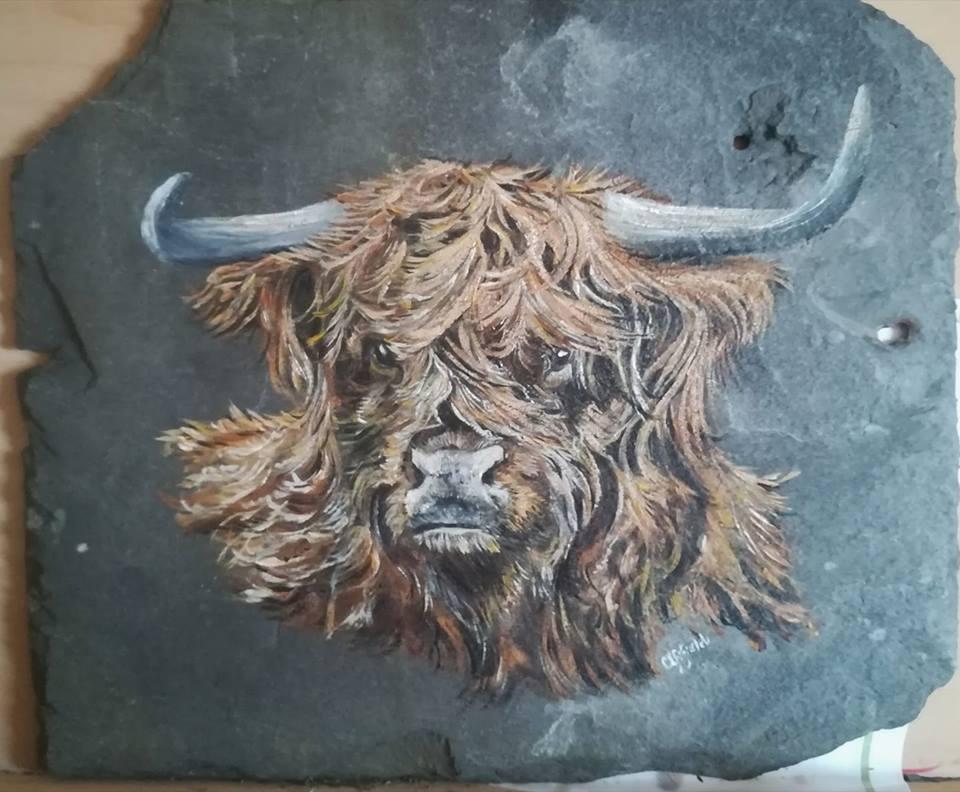 Acrylic slate Painting- Highland Coo