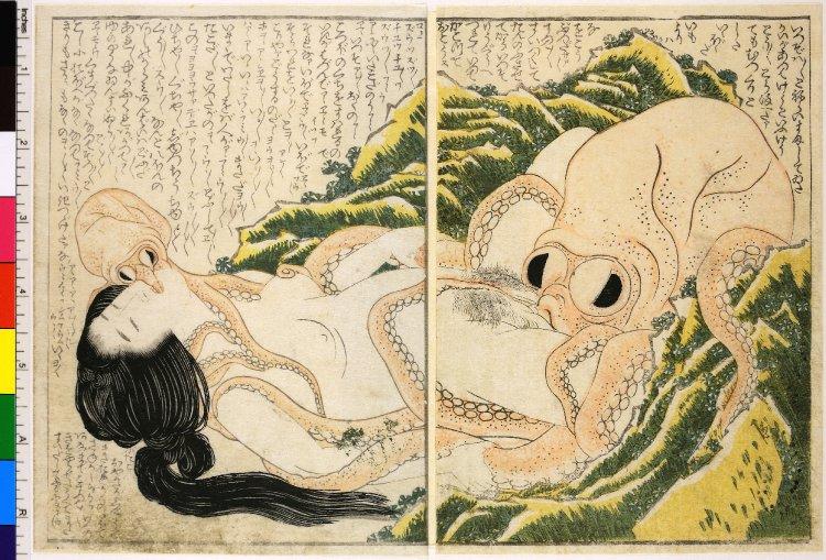 "16. Katsushika, Hokusai. ""The Dream of the Fisherman's Wife."" Woodblock print. 1814."