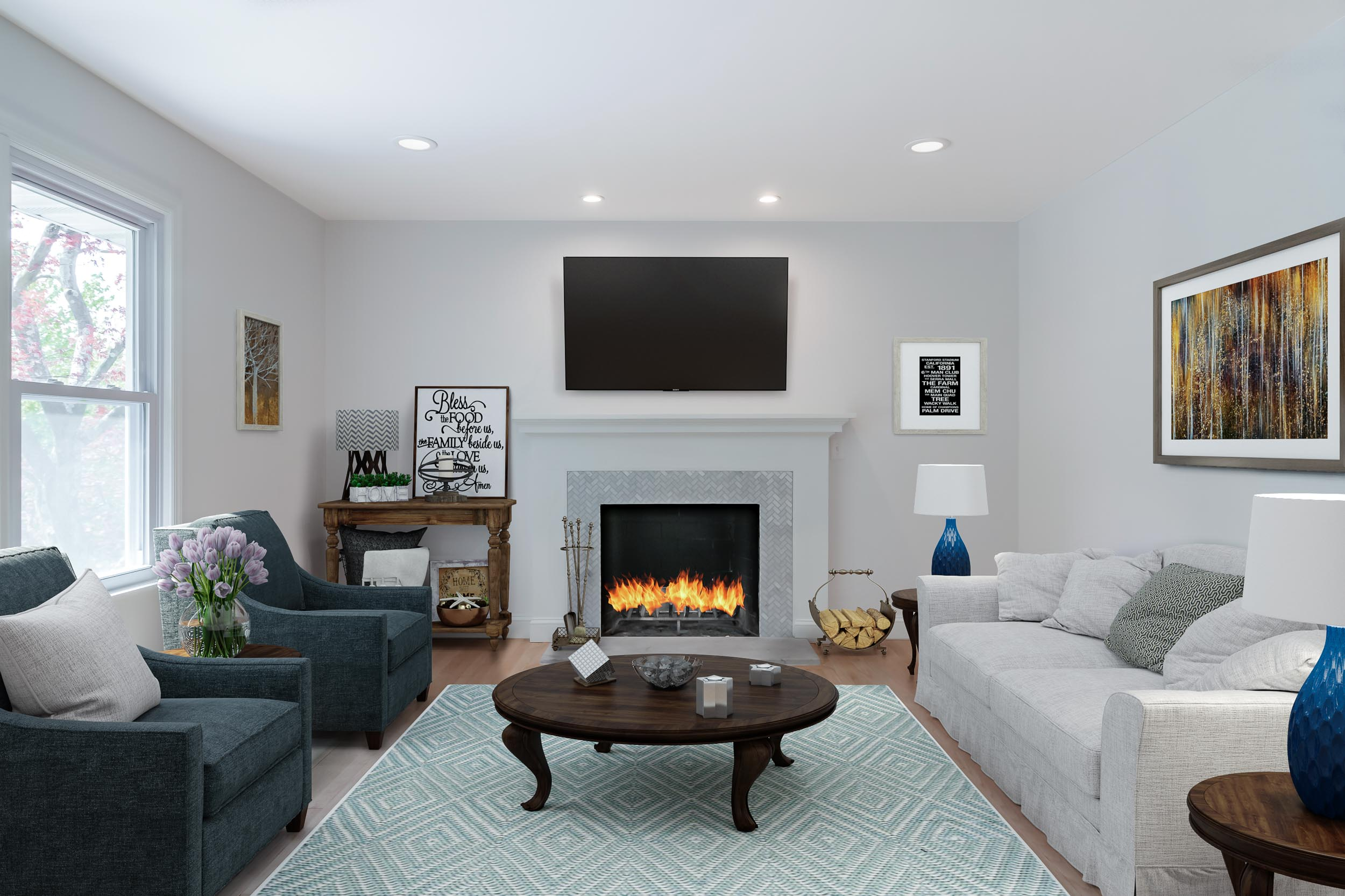 Copy of Virtual Staging of a custom finshed living room in Westchester C