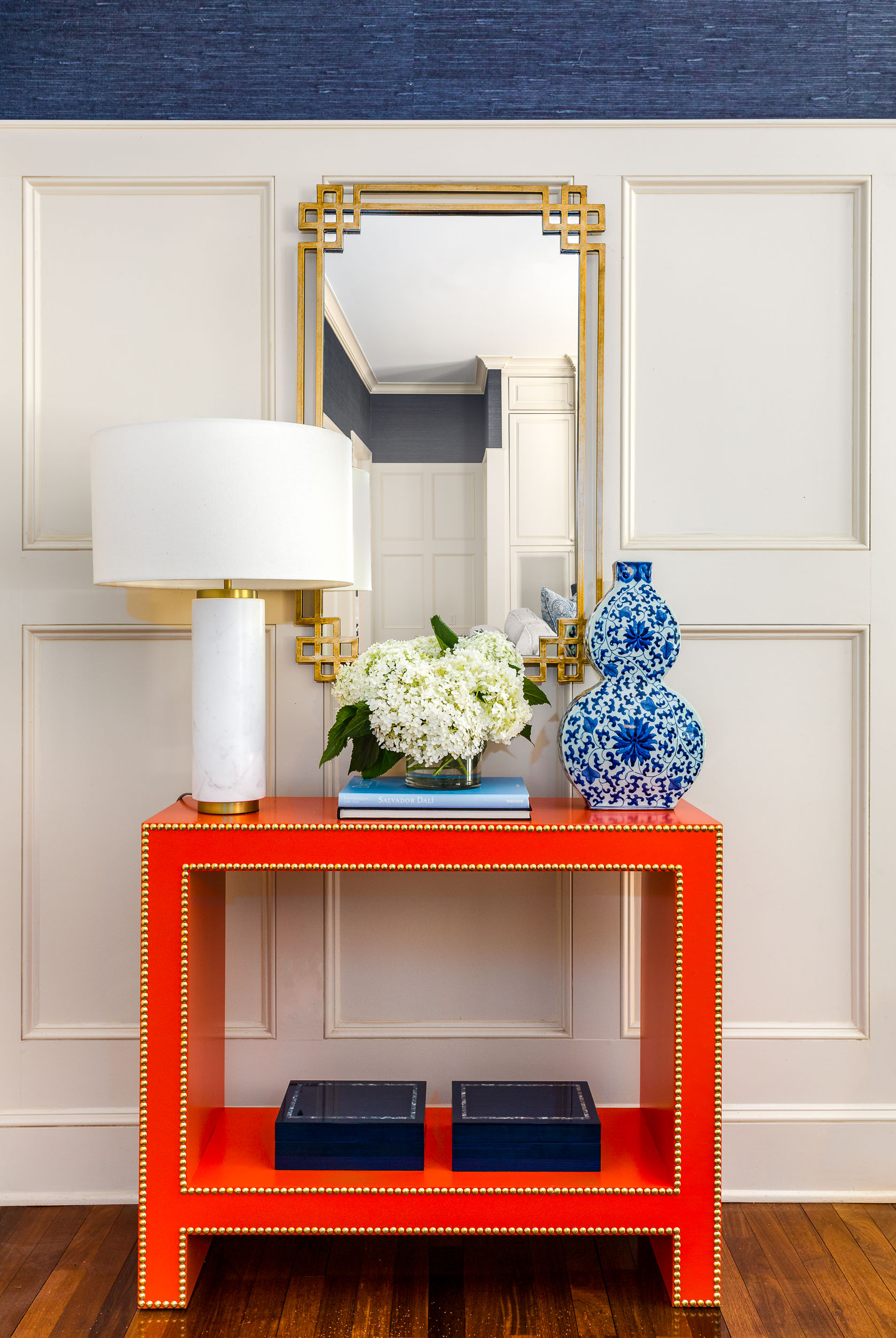 Decorative accent table in a luxury home's living room.