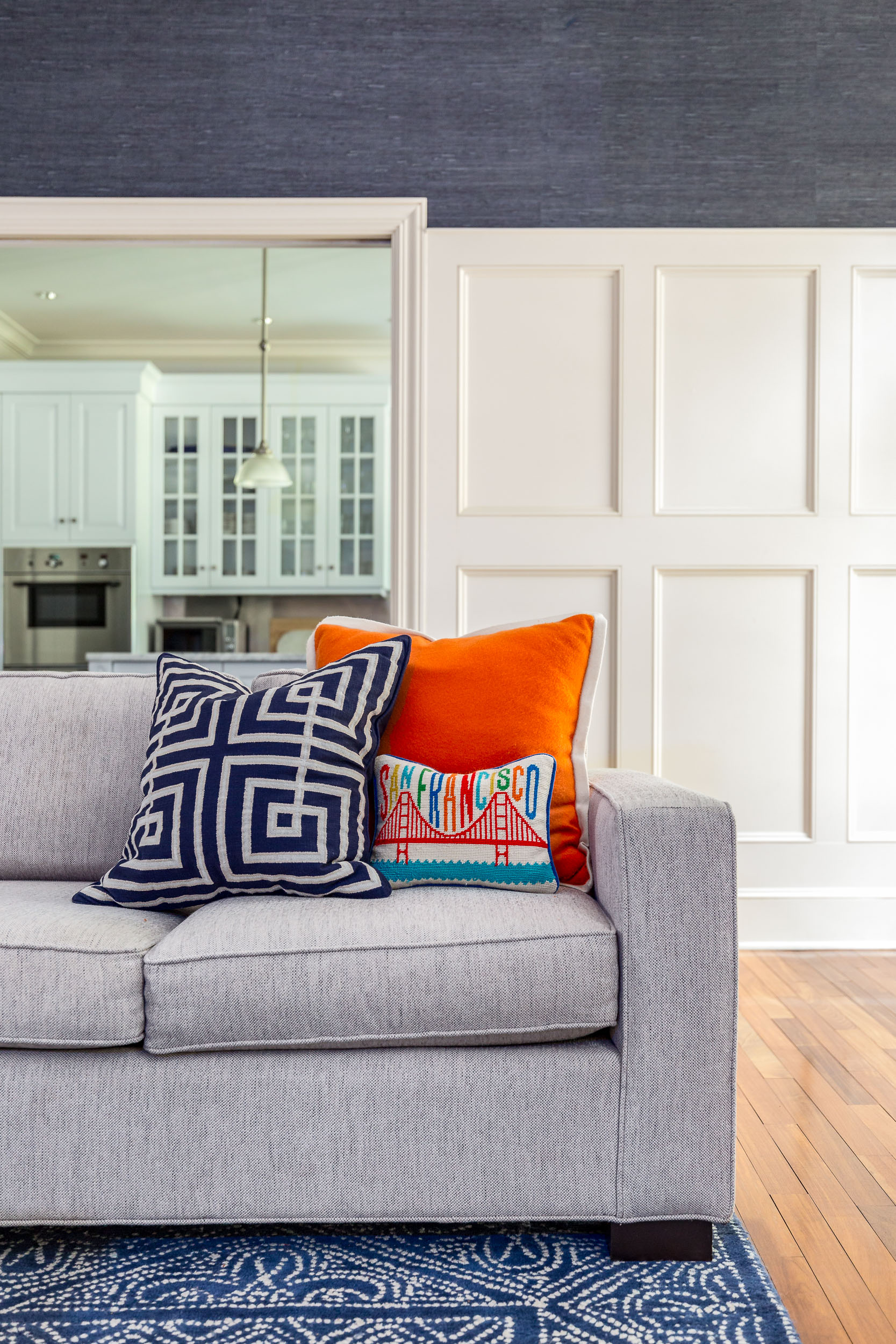 Traditional couch in a Greenwich, CT home.