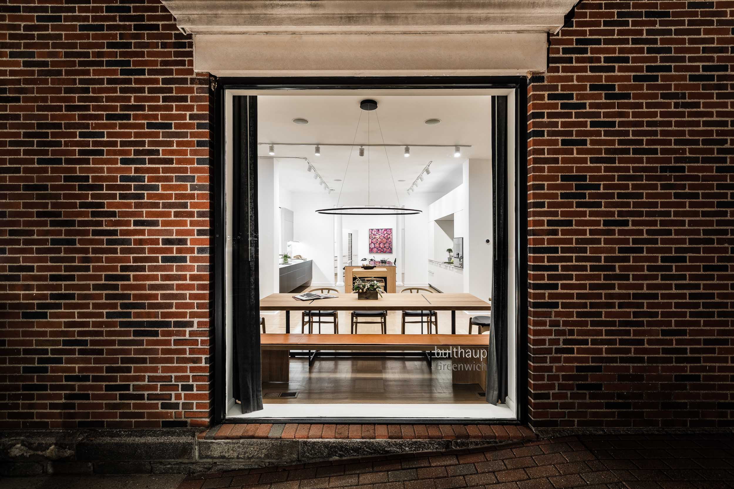 Architectural exteriors photography of a kitchen design showroom in Greenwich, Connecticut.