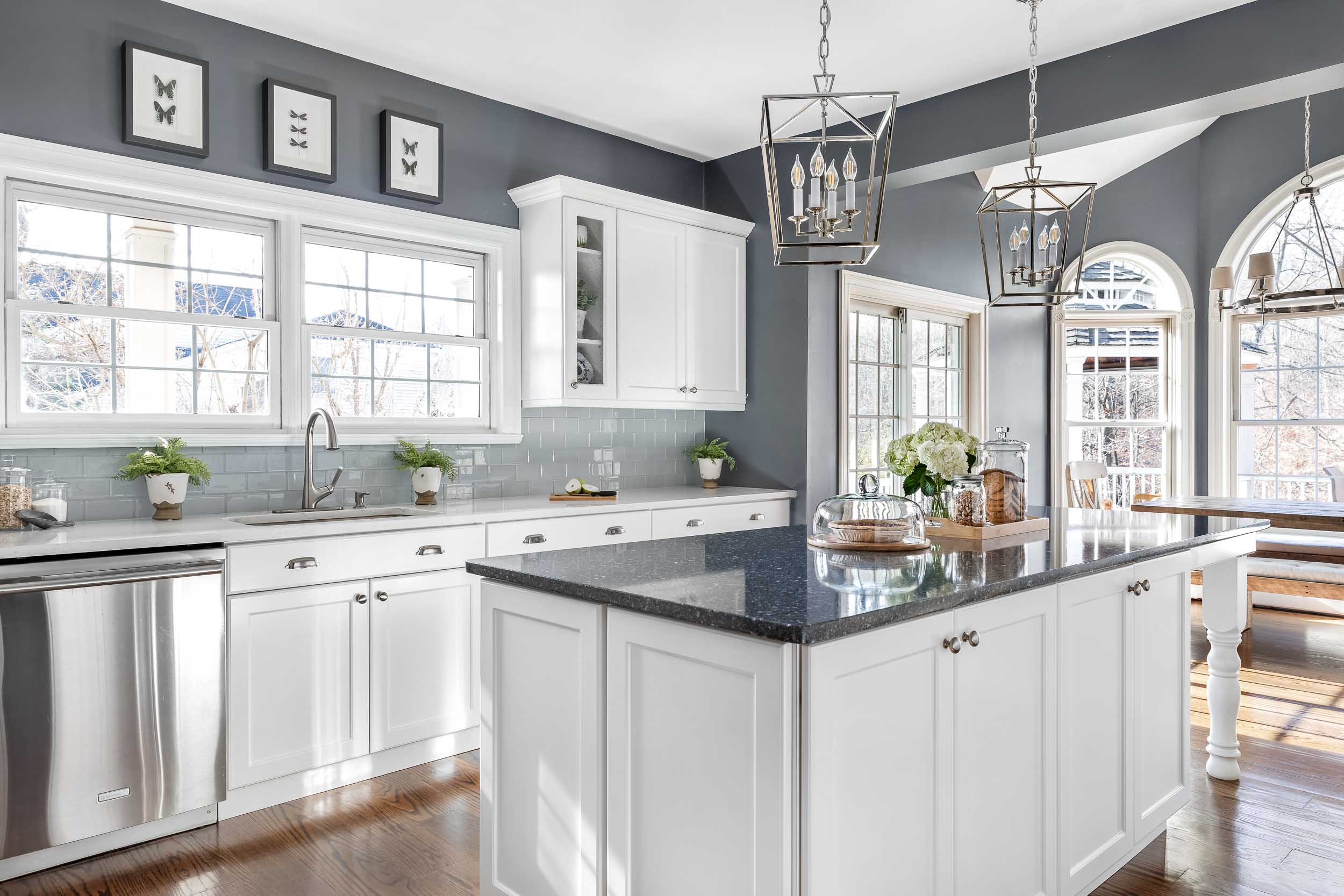 Architectural interiors photography of a rennovated kitchen in Nyack, NY.