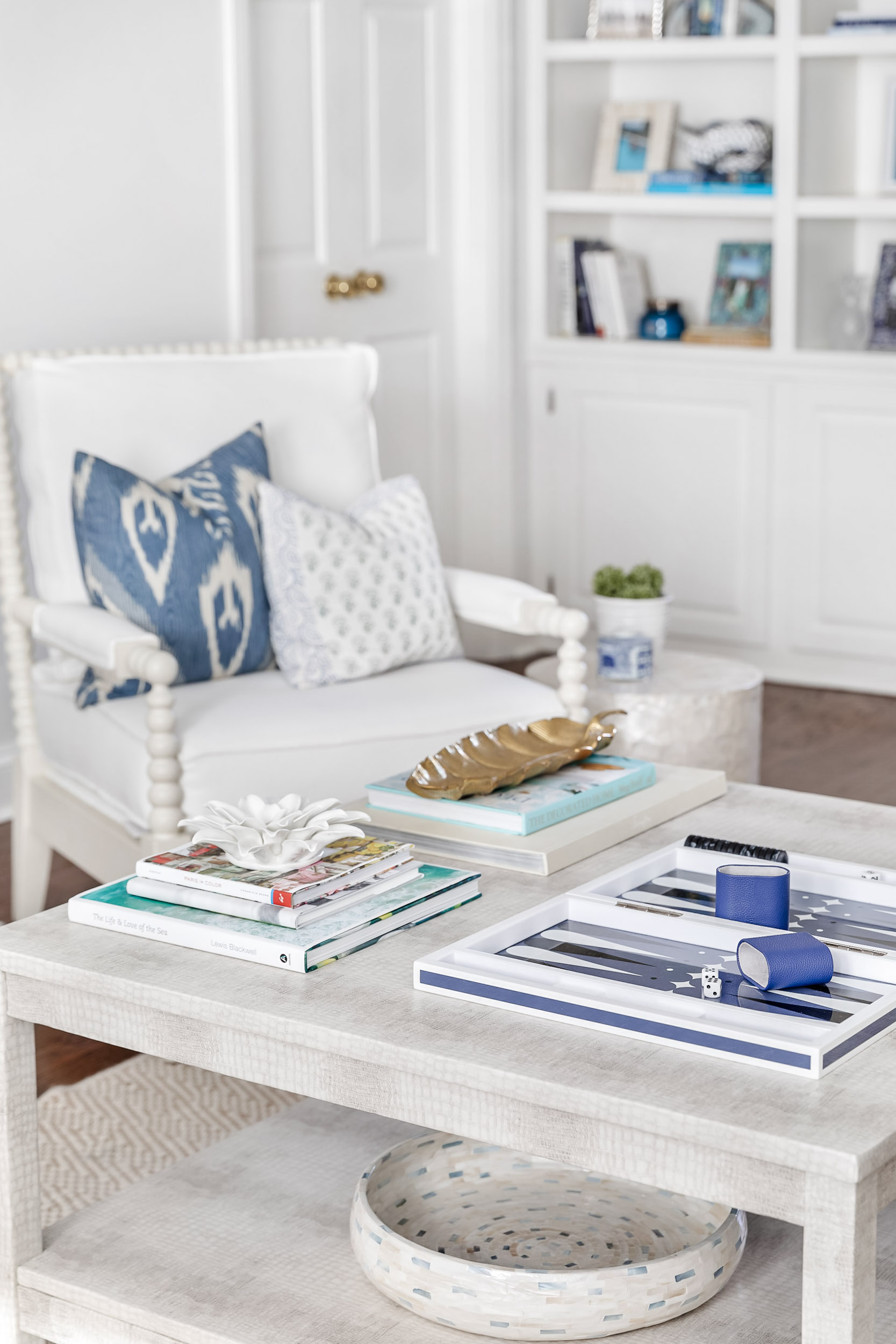 Product photography of a styled coffee table in a Riverside, Connecticut home.