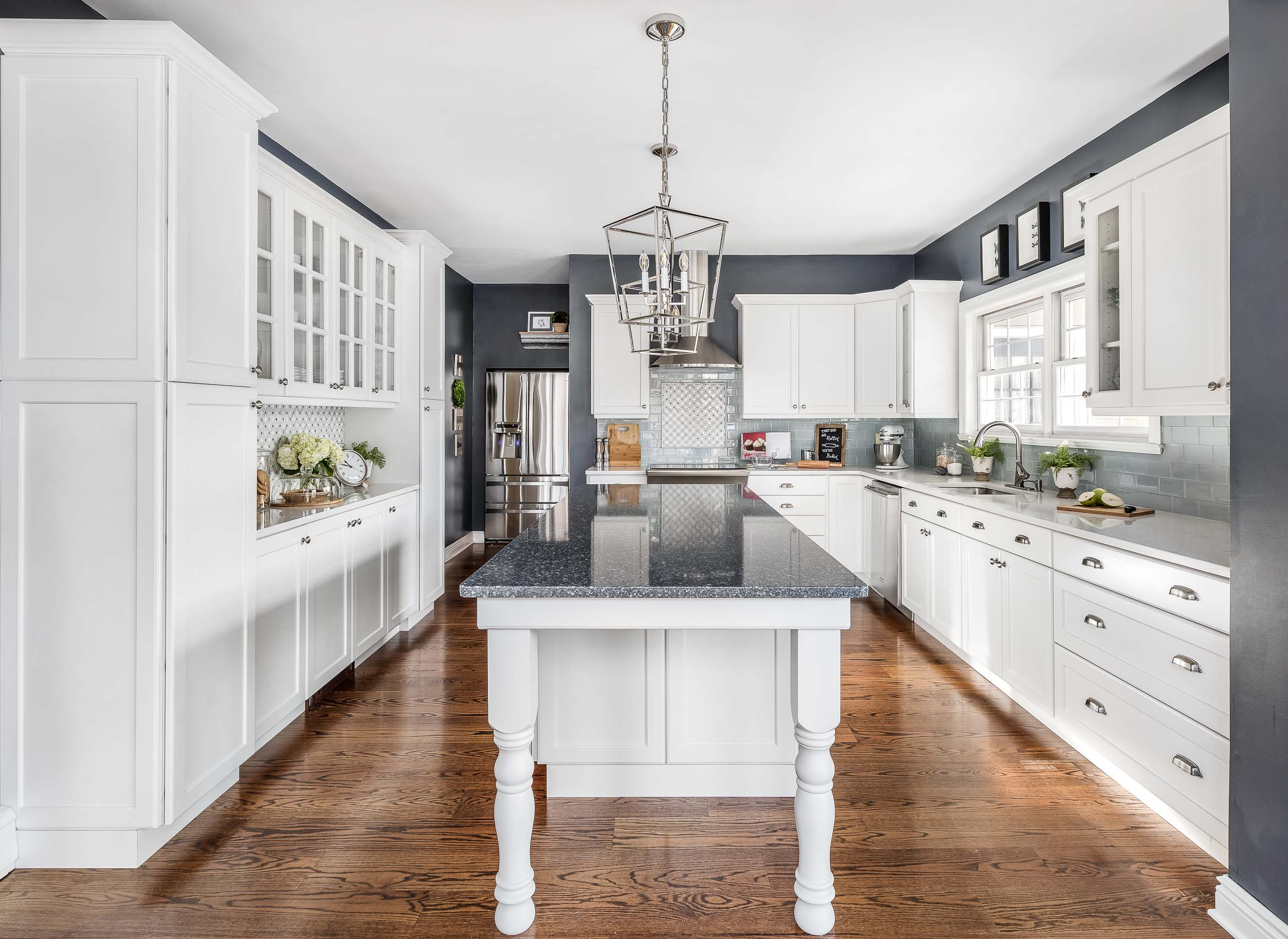 Interior photography of a white Nyack, NY kitchen.
