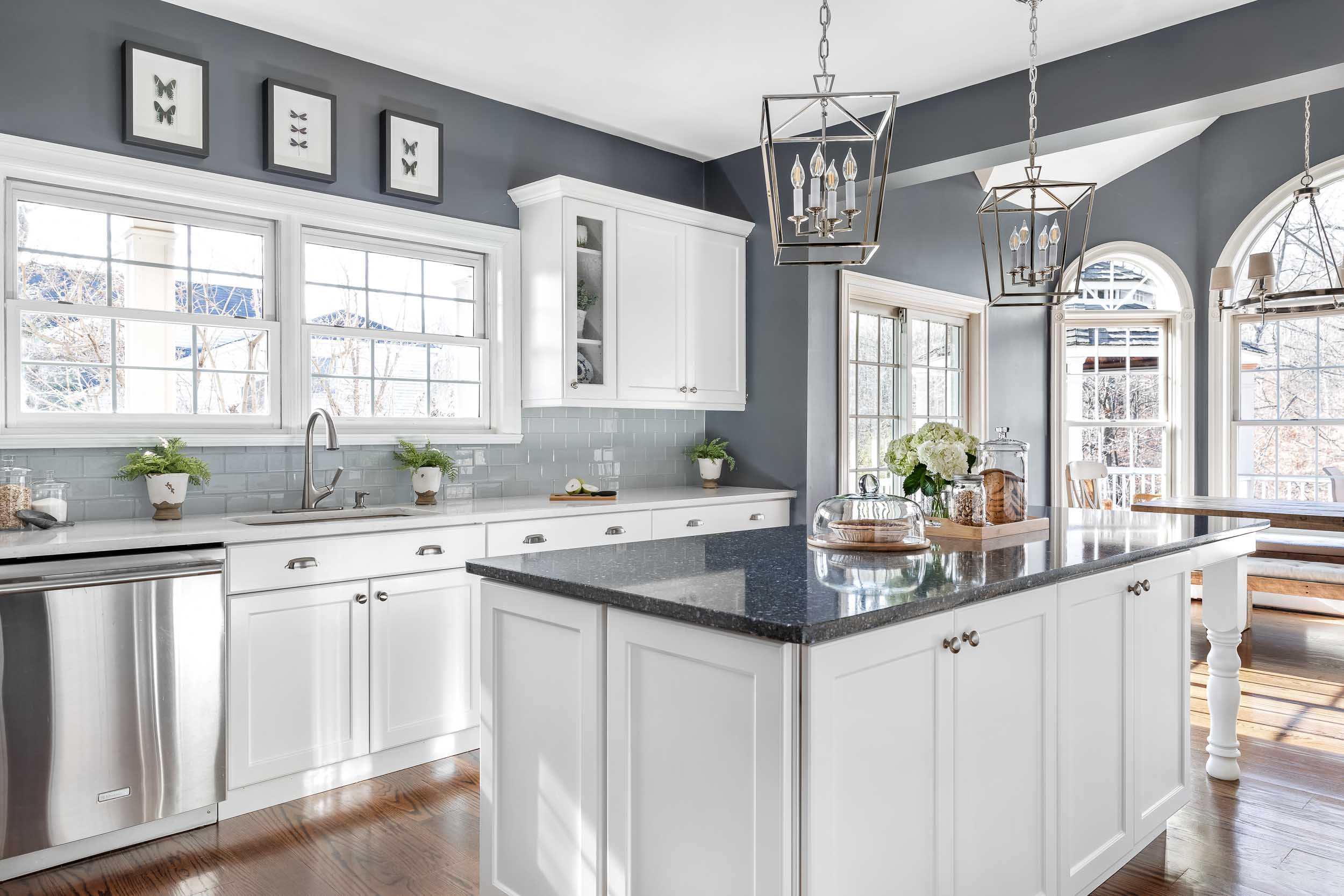 Interior photography of a white and blue Kitchen in a Rockland,