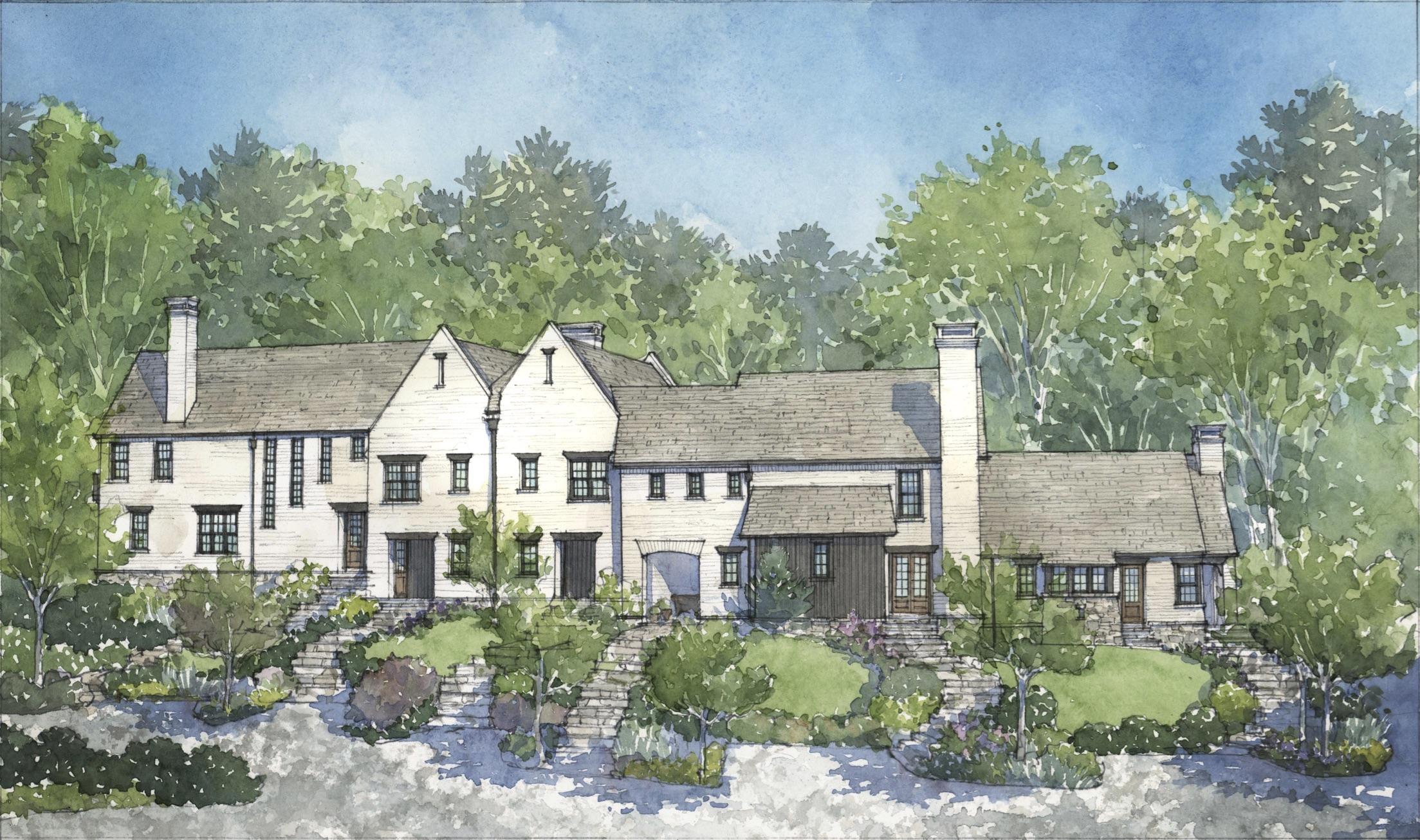 Swann Ridge British Cottages artist rendering by Cindy Cox.