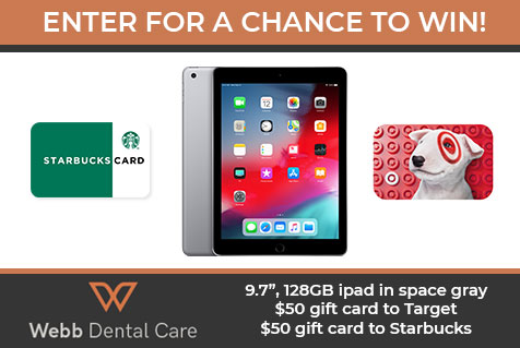 """Win a 9.7"""", 128GB ipad in space gray a $50 gift card to Target or a $50 gift card to Starbucks."""