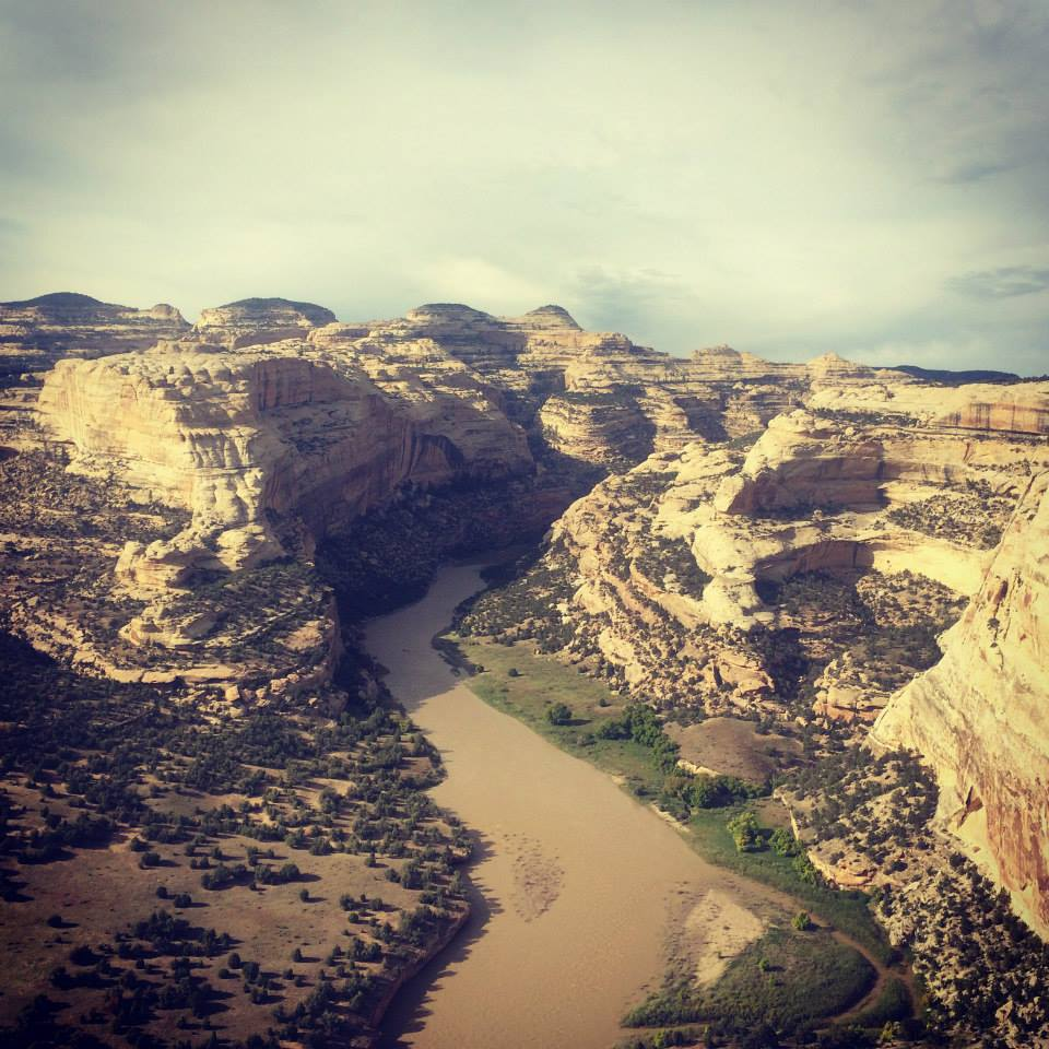 The Yampa River at Harding Hole, seen from Wagon Wheel Point at sunset. Photo: Sara Porterfield