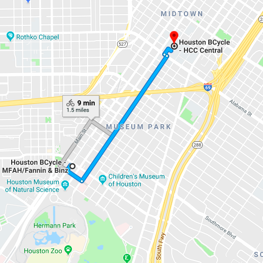 Museum District Jaunt - There are so many Museum District institutions to explore via bike share. This ride starts at the MFAH and ends near the Buffalo Soldier Museum.